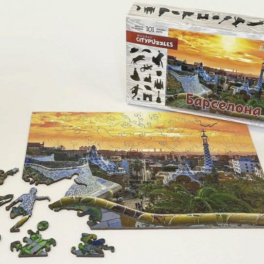 Нескучные игры 8221 Citypuzzles Барселона деревянные пазлы