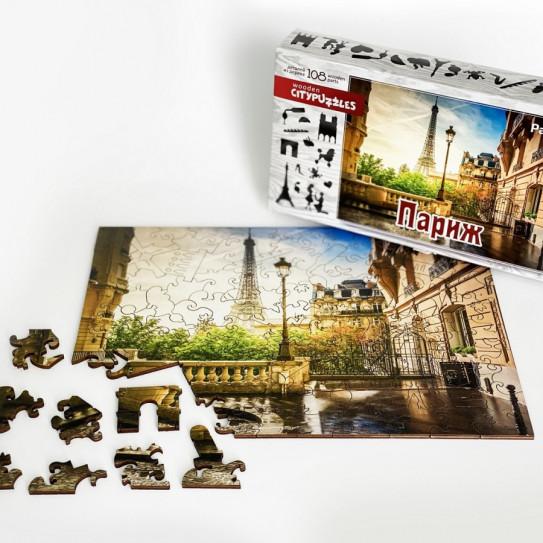 Нескучные игры 8184  Citypuzzles Париж деревянные пазлы