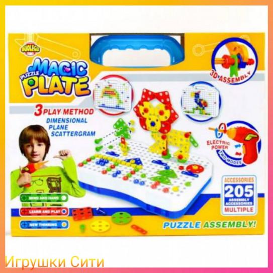 9802 Конcтруктор Magic Plate Puzzle с шуруповертом 205 деталей