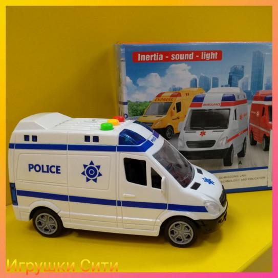 """Инерционная Машина """"Полиция"""" 18,5см ЗВУК,СВЕТ в коробке"""