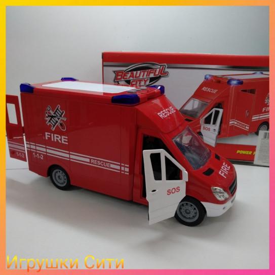 """Инерционная Машина """"Пожарная служба"""" 32см ЗВУК,СВЕТ в коробке"""