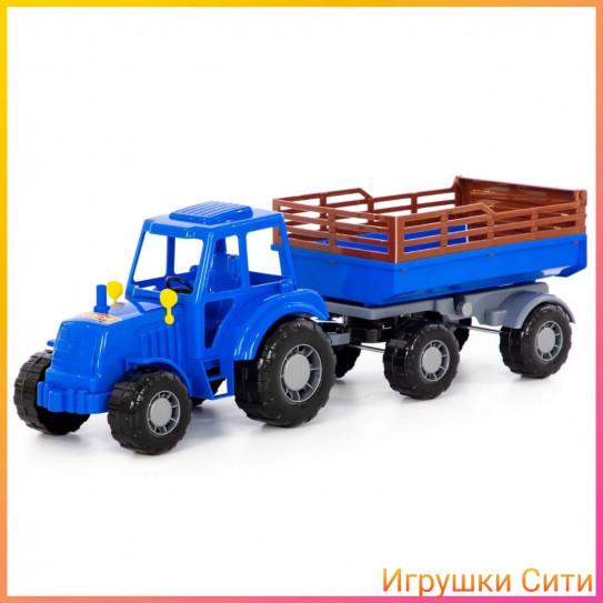 Полесье Алтай, трактор синий с прицепом №2